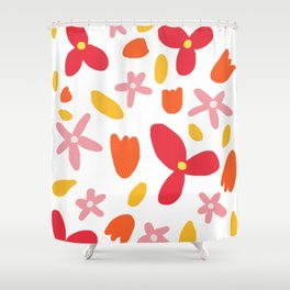 Pink Flowers and Petals Shower Curtain