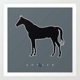 Cut Out Horse - Black with White Outline Art Print