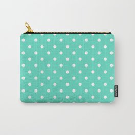 Tiffany Aqua Blue with White Polka Dots Carry-All Pouch