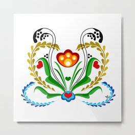 Scandinavian Folk Art ~ Tulip Metal Print