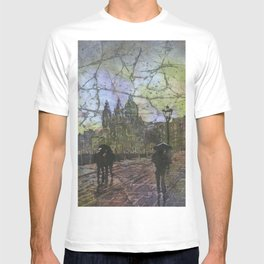 Amsterdam church on rainy day- watercolor batik painting T-shirt