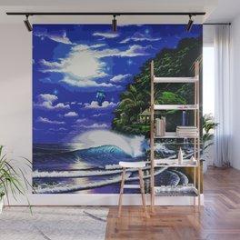 Tardis Art And The Moon Shine Wall Mural