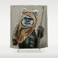 ewok Shower Curtains featuring Ewok by Sam Luotonen