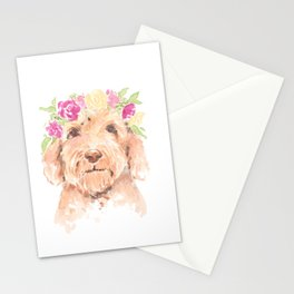 golden doodle watercolor Stationery Cards