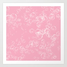 Bubbles Neck Gator Pink Bubbles Art Print