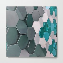 What The Hex 3D Geo Abstract In Steel, Turquoise Blue and White Metal Print