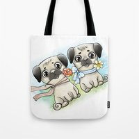 pugs Tote Bags featuring Cute pugs by Anna Syroed