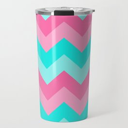 Hot Pink Turquoise Aqua Blue Chevron Zigzag Pattern Print Travel Mug