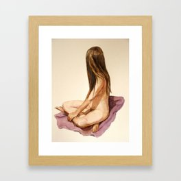 nude sitting woman watercolor painting Framed Art Print