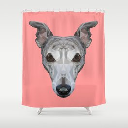 Whippet // Pink Shower Curtain