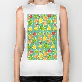 Fresh Fruits Pineapple Banana Apple Biker Tank