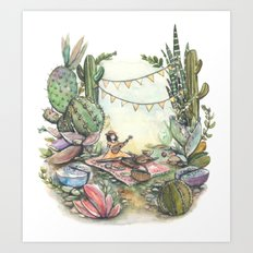 In a world of a cacti and succulent park Art Print