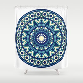 Mandala Marimekko Style Acqua and Blue Shower Curtain