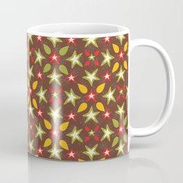 Brown and Orange Festive Traditional Stars Snow Coffee Mug