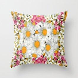 PINK FLOWERS WHITE DAISIES GARDEN Throw Pillow