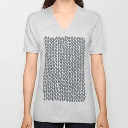 Hand Knit Grey Unisex V-Neck