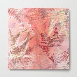 Elegant Coral Gold Fern Leaves Abstract Pattern Metal Print