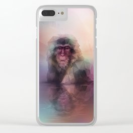 Macaque (Low Poly Multi II Snow Monkey) Clear iPhone Case