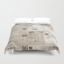 Old Letters Vintage Collage Duvet Cover
