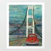 volkswagon Art Prints featuring VW Bug on Mackinac Bridge by Barb Laskey Studio