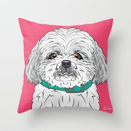 Shih Tzu Art Poster Icon Series by Artist A.Ramos.Designed in Bold Colors Throw Pillow