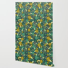 Teal, Yellow & Purple Floral/Daisy Pattern Wallpaper