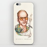 hunter s thompson iPhone & iPod Skins featuring Hunter S Thompson - Quote by Sally Ridge