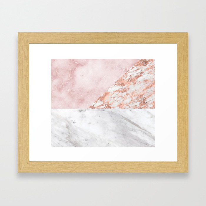 Mixed pinks rose gold marble Framed Art Print