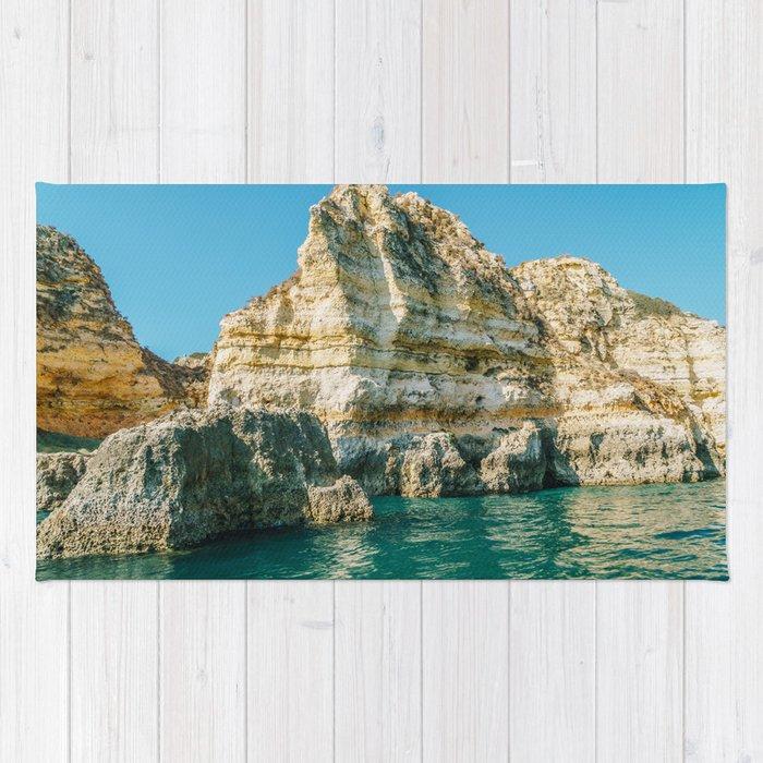 Rocks, Cliffs And Ocean Landscape At Lagos Bay Coast, Wall Art Print, Landscape Art, Poster Decor Rug