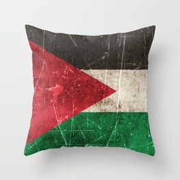 Vintage Aged and Scratched Palestinian Flag Throw Pillow