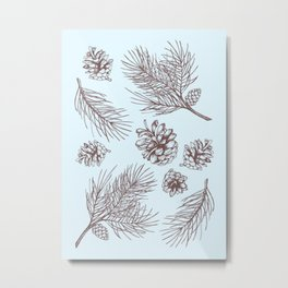 Pine Cones and Pine Branches Pattern (Light Blue and Sepia) Metal Print