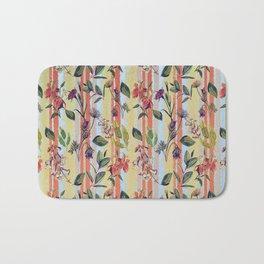 Wild Flowers on Stripes Bath Mat