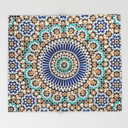 blue & gold moroccan tile Throw Blanket