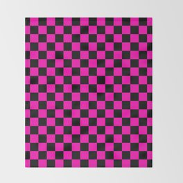 Large Hot Neon Pink and Black Racing Car Check Throw Blanket