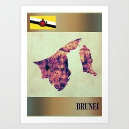 Brunei Map with Flag Art Print