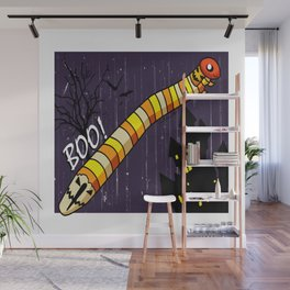 Candy Worms and Jack-o-lanterns Wall Mural