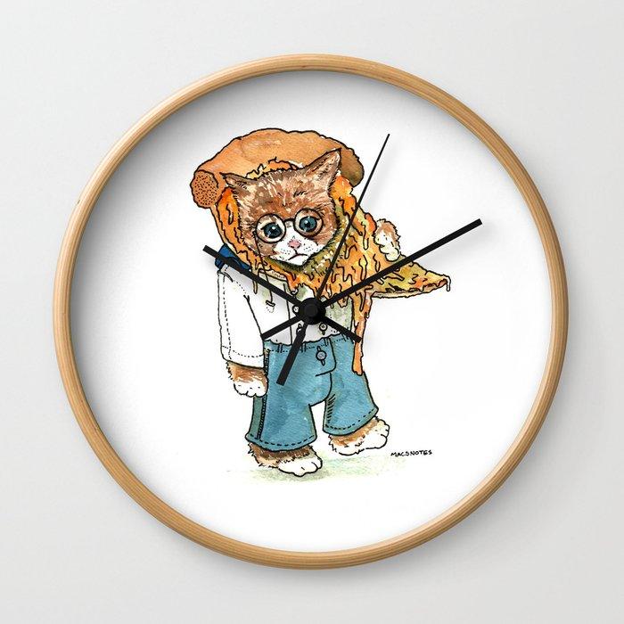 CAT PIZZA Wall Clock