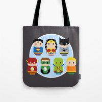 justice league Tote Bags featuring Pixel Art - Justice League of America parody by Cloudsfactory