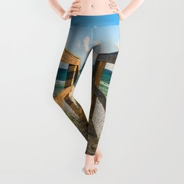 Head to the Beach - Boardwalk Leads to Summer Fun in Florida Leggings