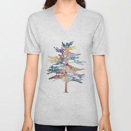 Fir Tree Acrylic Painting Unisex V-Neck