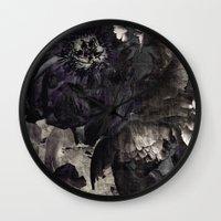 goth Wall Clocks featuring goth peony by inourgardentoo