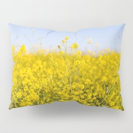 Bright yellow spring flowers pattern blue sky photography Pillow Sham