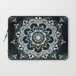 Glowing Spirit Mandala Blue White Laptop Sleeve