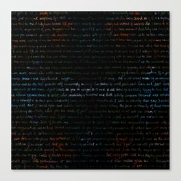 Dahlias + Journal Writing Overlay Canvas Print