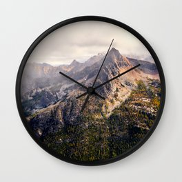 Moody Autumn Mountain in the North Cascades Wall Clock