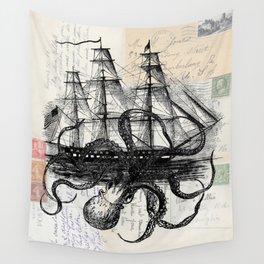 Octopus Kraken Attacking Ship on Old Postcards Wall Tapestry