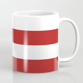 Horizontal Stripes - White and Firebrick Red Coffee Mug