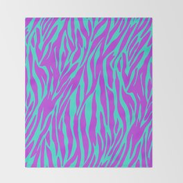 Purple and Green Zebra print Throw Blanket