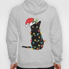 Santa Black Cat Tangled Up In Lights Christmas Santa Graphic Hoody