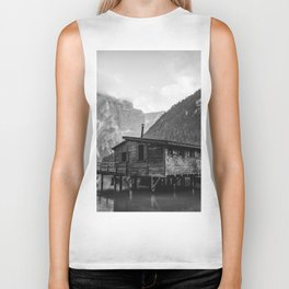 House on Water (Black and White) Biker Tank